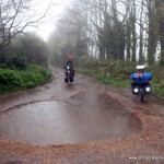 Riesenpfütze auf dem Radweg