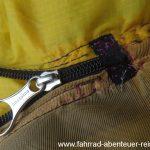 Reißverschluss-Reparatur am Zelt