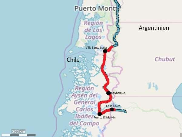 Chile Süd Karte