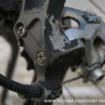 Bowdenzug und Stellschrauben am Schaltwerk