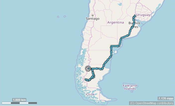 Karte Argentinien Süd Route
