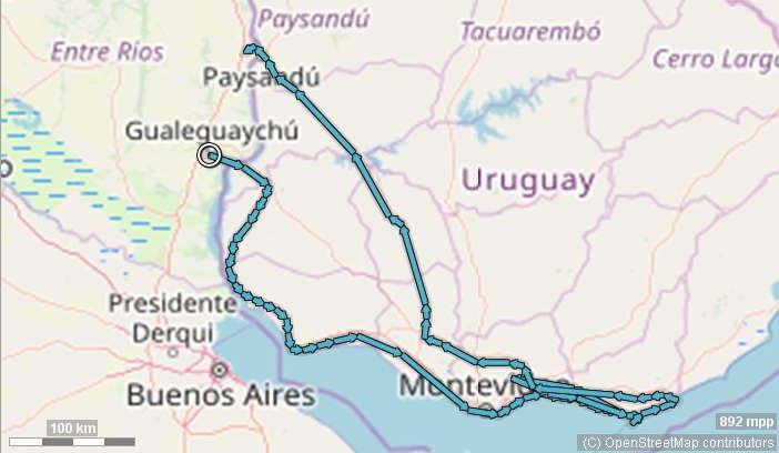 Karte Uruguay Route