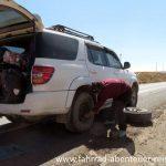 Reifenpanne beim Trampen