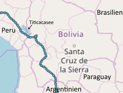 Bolivien Radreise Route
