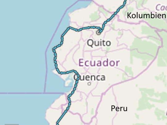 Ecuador Radreise Route