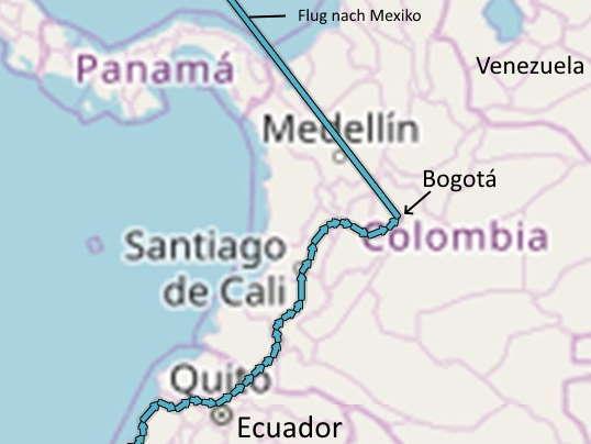 Kolumbien Radreise Route