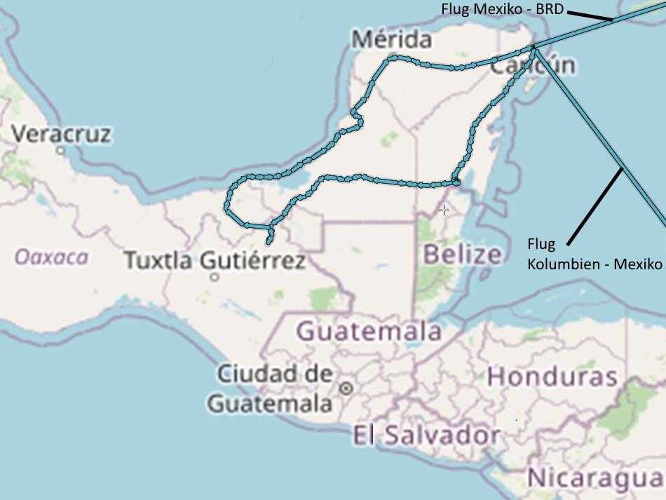 Mexiko Radreise Mexiko 2020 Route
