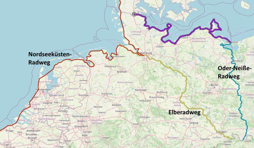 Ostseeküstenradweg-Elberadweg-Nordseeküstenradweg