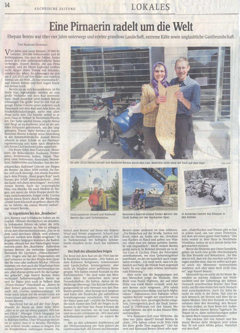 Reportage in der Sächsischen Zeitung 2020